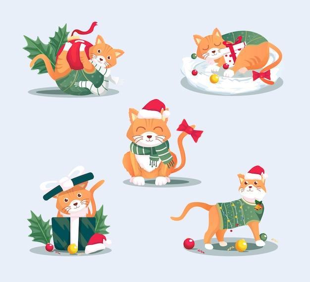 Weihnachtskatze illustrationsset