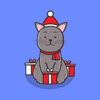 Weihnachtskatze mit weihnachtsmütze und geschenkbox-zeichentrickfigur