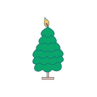 Weihnachtskerze in form eines weihnachtsbaumes
