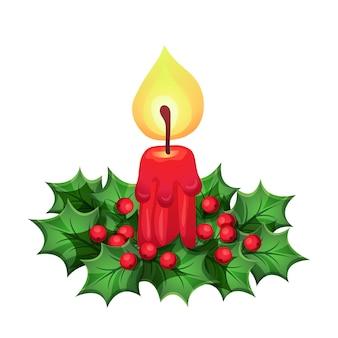 Weihnachtskerze mit dekorativen elementen