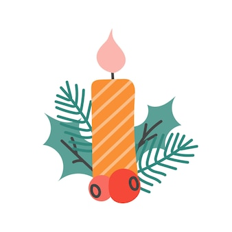 Weihnachtskerze mit tannenzweigen und stechpalmenbeeren, festliches dekor für postkarten, poster.