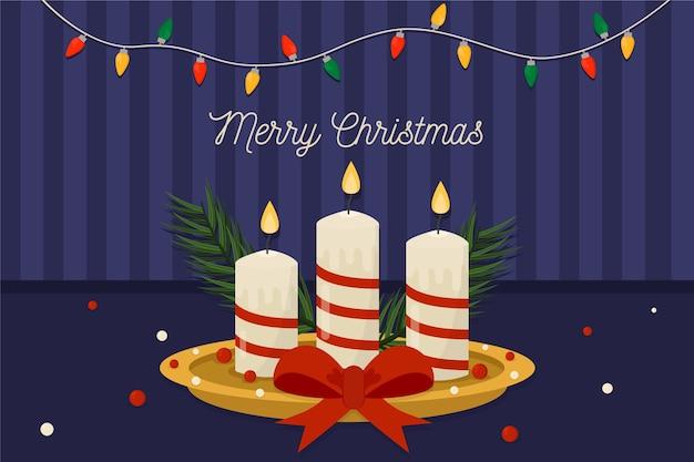Weihnachtskerzenhintergrund im flachen design