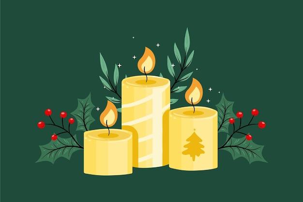 Weihnachtskerzenhintergrund im flachen entwurf