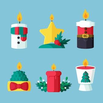Weihnachtskerzenkollektion im flachen design