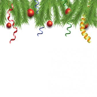Weihnachtskiefer und serpentinenbänder mit bällen