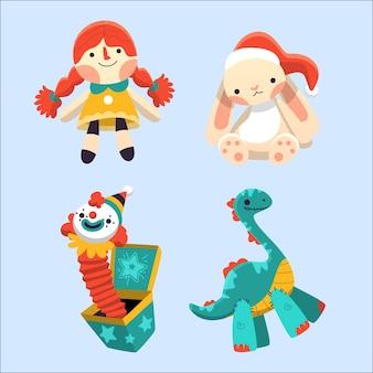 Weihnachtskinderspielwarenhand gezeichnet