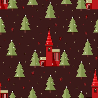 Weihnachtskirche seamless pattern