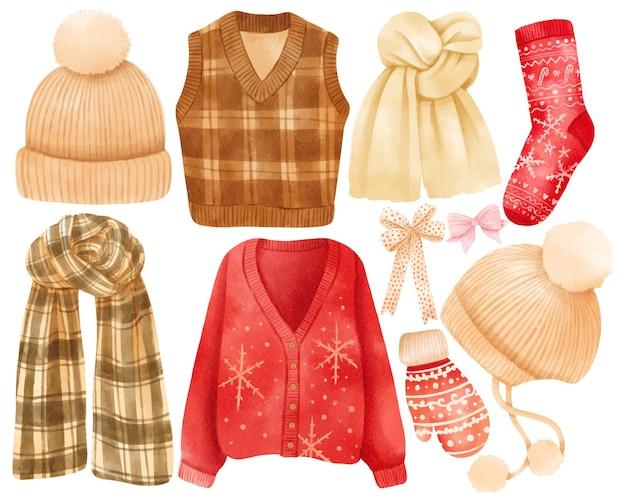 Weihnachtskleidung elemente illustrationen aquarell stile