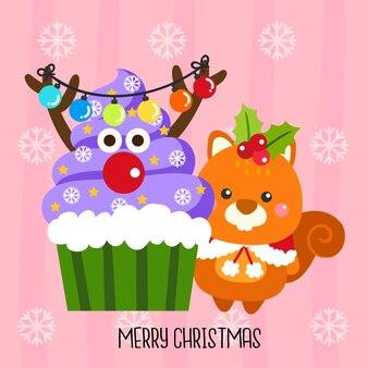 Weihnachtskleiner kuchen Vektor.