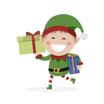 Weihnachtskobold. kleiner elf mit geschenken.