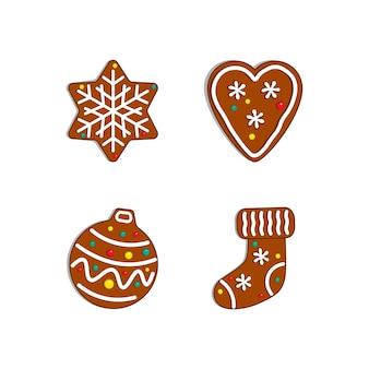 Weihnachtskollektion. lebkuchenhaus, mann, hut, spielzeug.