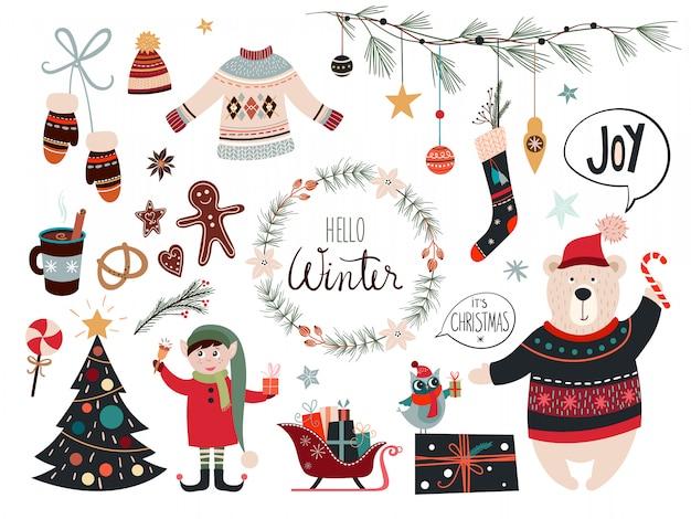 Weihnachtskollektion mit dekorativen saisonalen elementen