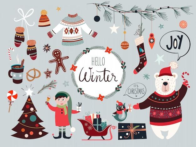 Weihnachtskollektion mit saisonalen elementen