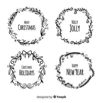 Weihnachtskollektion von blumen und kranz