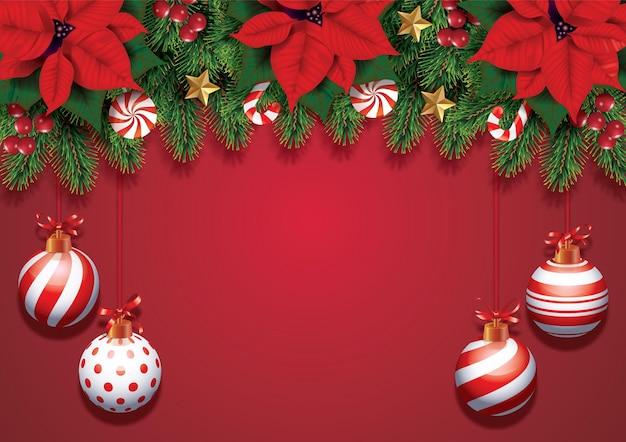Weihnachtskomposition auf rotem hintergrund tannenbaumzweige mit schönem weihnachtsstern beugt ball