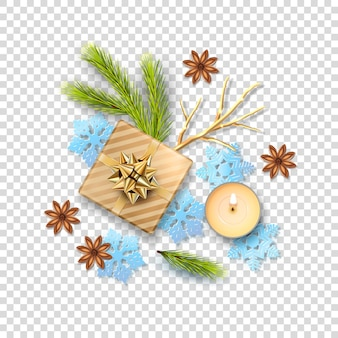Weihnachtskomposition mit feiertagsdekorationen