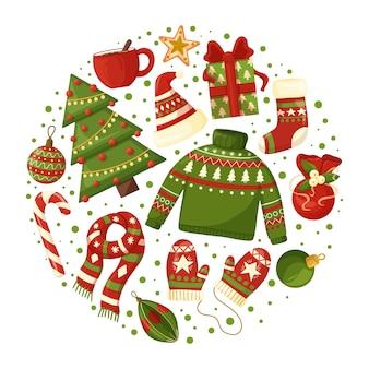 Weihnachtskomposition mit saisonalen elementen.