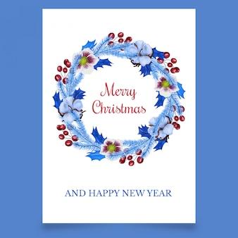 Weihnachtskoniferenkranz mit baumwolle und blumen