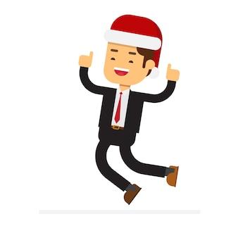 Weihnachtskonzept, geschäftsmann feiert zu springen