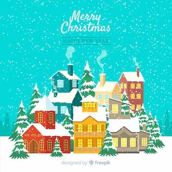 Weihnachtskonzept mit flacher designstadt