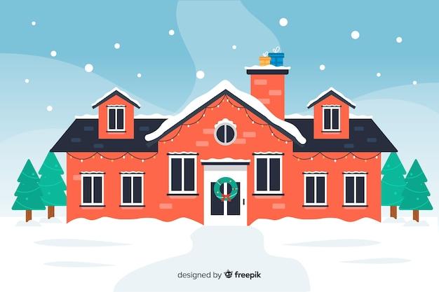Weihnachtskonzept mit haus im flachen design