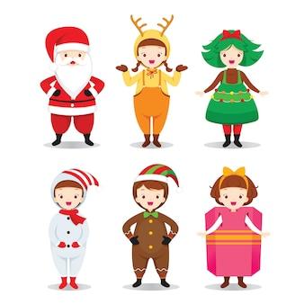 Weihnachtskostüme im flachen design