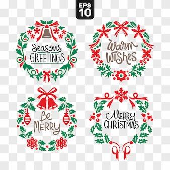 Weihnachtskränze, die datei-sammlungs-satz mit wunschzitat schneiden