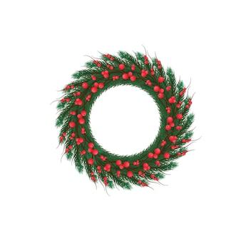 Weihnachtskranz an der tür, wand. dekoration, dekor. fichtenzweig, mistel. frohe weihnachten und ein glückliches neues jahr.