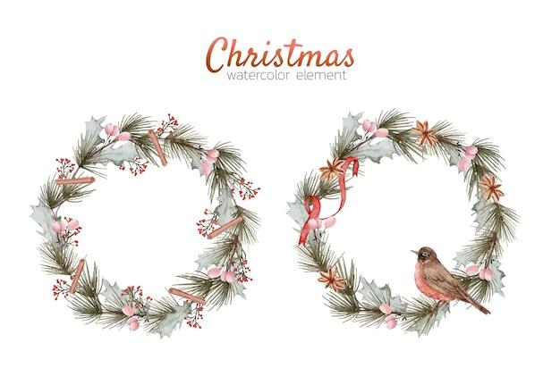 Weihnachtskranz aquarell element handmalerei