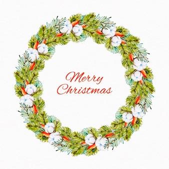 Weihnachtskranz aquarellillustration mit blumen