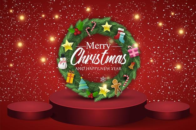 Weihnachtskranz auf rotem hintergrund. text frohe weihnachten und ein gutes neues jahr.