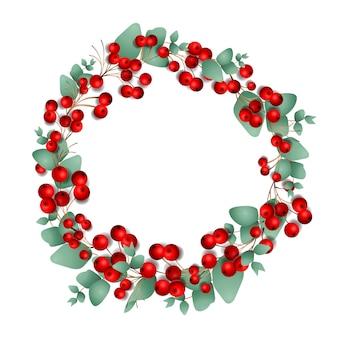 Weihnachtskranz aus roten beeren und eukalyptusblättern, lokalisiert auf weißem hintergrund, illustration.