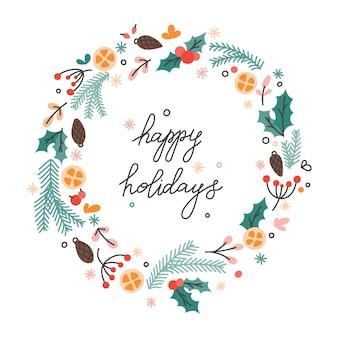 Weihnachtskranz aus tannenzweigen, beeren und zapfen mit schriftzug frohe feiertage