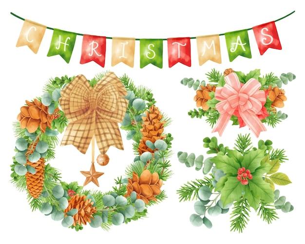 Weihnachtskranz dekoration elemente illustrationen aquarell stile
