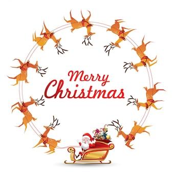 Weihnachtskranz elemente mit santa claus reitet den rentierschlitten, der herum spinnt