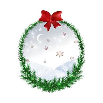 Weihnachtskranz für grußkarte