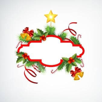 Weihnachtskranz-grußschablone mit leeren rahmen-tannenzweigbändern bonbons klingeln glocken und stern