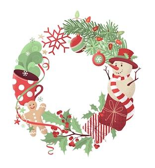 Weihnachtskranz. handgezeichnete rauschstruktur.