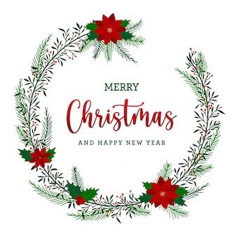 Weihnachtskranz im flachen design mit blättern und blumen