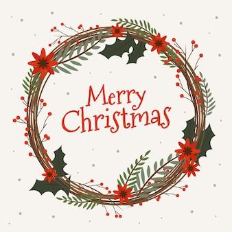 Weihnachtskranz im flachen design