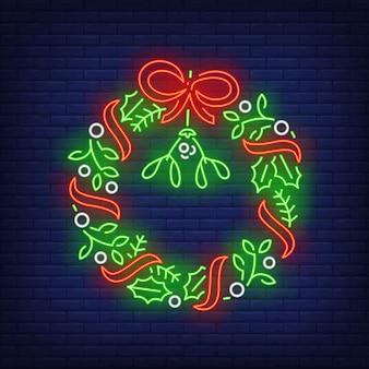 Weihnachtskranz im neonstil