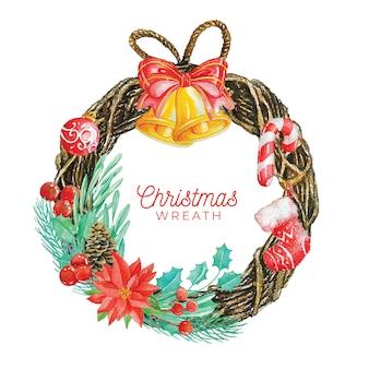Weihnachtskranz in aquarell-stil