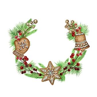 Weihnachtskranz lebkuchenplätzchen grußkartenplakat, fahnenkonzept.