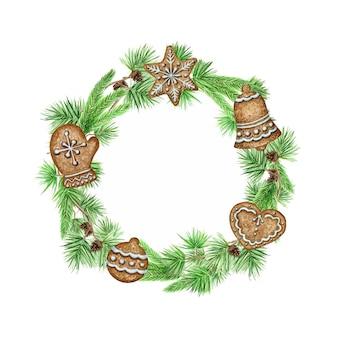 Weihnachtskranz lebkuchenplätzchen