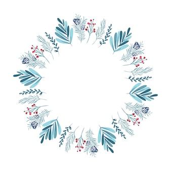 Weihnachtskranz mit beeren, tannenzapfen und zweigen. vorlage