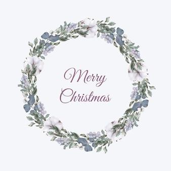 Weihnachtskranz mit blättern und baumwollblumen