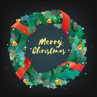 Weihnachtskranz mit frohe weihnachten schriftzug