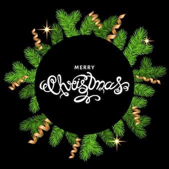 Weihnachtskranz mit goldfalle serpentin und schriftzug auf schwarzem hintergrund