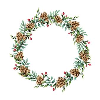 Weihnachtskranz mit kiefernkegel-aquarellartvektor