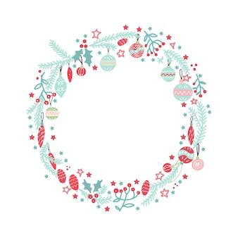 Weihnachtskranz mit kugeln, beeren, zweigen und schneeflocken. vervollkommnen sie für feiertagsgrußkarten. hand gezeichnete illustration.